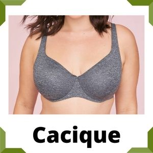 Cacique Unlined Full Coverage Bra 50 DDD new